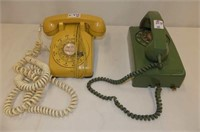 2 Rotary Dial Phones--Yellow Desk & Strongberg