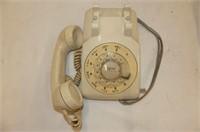 2 Rotary Dial Phones--Burgundy Wall & Beige Desk