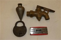 "Brass--Hammer, Tap, Plumb Bob, Beatty 6 3/4"" Brack"