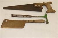 "12 1/2 "" Hand Saw, Tack Hammer (broken), 3 Spoke P"