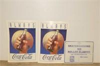 RBC Skateboarding Sign, 2 Always Coca Cola Cardboa