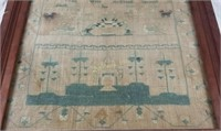Antique 1806 Textile Sampler Framed Cross Stitch