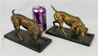 Pair Of Heavy Metal & Brass Dog Statues Bookends