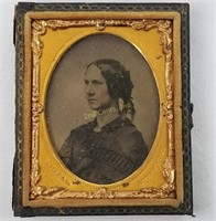 2 Antique Small Photo Frames Tintype Portraits