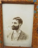 Antique Male Portrait Photo In Hand Carved Frame