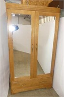 Mirrored 2 Door Wardrobe w/Bottom Drawer