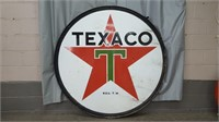 5 FOOT DOUBLE SIDE TEXACO SIGN WITH BRACKET