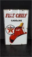 PORCELAIN FIRE CHIEF TEXACO PUMP SIGN