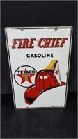 "12"" X 18"" PORCELAIN TEXACO FIRE CHIEF PUMP SIGN"