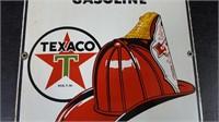 "12"" X 18"" PORCELAIN TEXACO FIRE CHIEF PUMP SIGN"
