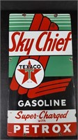 "12"" X 22"" PORCELAIN SKY CHIEF TEXACO PUMP SIGN"