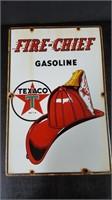 "12"" X 18"" PORCELAIN FIRE CHIEF TEXACO PUMP SIGN"