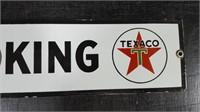 "23"" X 4"" PORCELAIN TEXACO ""NO SMOKING"" SIGN"
