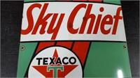 """12"""" X 22""""  PORECLAIN SKY CHIEF TEXACO PUMP SIGN"""