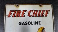 "8"" X 12""  PORCELAIN FIRE CHIEF TEXACO PUMP SIGN"