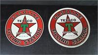 2 ROUND TEXACO TIN SIGNS