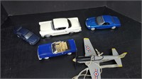 4 MISC MODEL CARS & 1 AIRPLANE