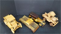 4 WOODEN CARS