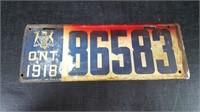 2 1918 ONTARIO LICENSE PLATES