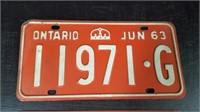 2 JUNE 1963 ONTARIO LICENSE PLATES