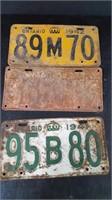 1937, 1941 & 1942 ONTARIO LICENSE PLATES
