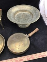Vintage Brass Teapot, Pedestal Bowl & More