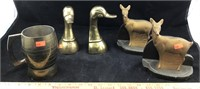 Vintage Brass & Frank Art Bookends and Brass Mug