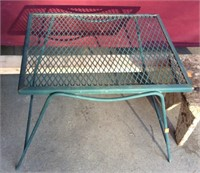 Vintage Stool Bench and Metal Patio Table