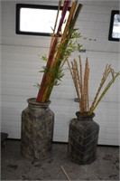(2) Large Vases with Artificial Bamboo