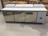 """Coldline 94"""" Refrigerated Prep Table on Wheels"""