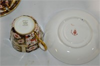 (2) Ansley Teacups with Crown Derby Saucers