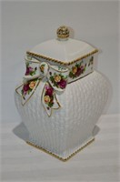 "Royal Albert Old Country Rose Jar, 12"" tall"