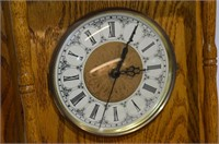 "Solid Oak Wall Clock, 16"" x 12"" - working"