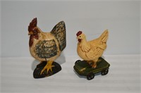"(2) Décor Roosters, 12"" & 10"" Tall"