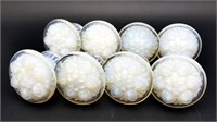 Antique White Opalescent Glass Drawer Pull Knobs 8