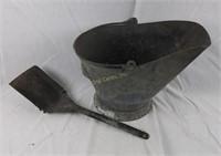 Vintage Galvanized Coal Bucket W/ Shovel