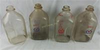 Lot Of 4 Glass Milk Bottles Superior 1 Gallon