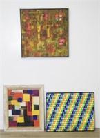 Three Mid Century Abstract Oil Paintings