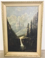 Oil on Board With Waterfall