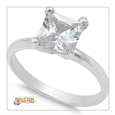 White Solid Silver Wedding Ring White Princess Cut Other Items For