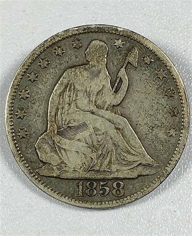 Auctiontime Com Us Mint 1858 O Seated Liberty Half Dollar Online