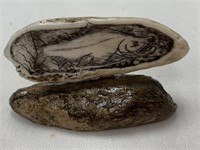 Scrimshawed fossilized ivory walrus tooth by Micha