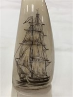 Scrimshawed whale's tooth with fabulous sailing sh