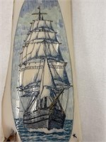 Fabulous scrimmed sailing ship on fossilized ivory