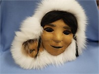 """Anaktuvuk Pass mask mother and child, 13"""" long, wi"""