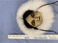 "Anaktuvuk Pass mask 9"" with arctic fox and beaver"