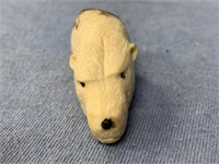"""Fossilized walrus tooth carved as a bear head 2"""" l"""