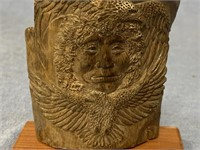 """Imported relief carved mammoth ivory 4"""" tall with"""