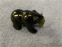 """1"""" Jade bear with fish in its mouth           (g 2"""