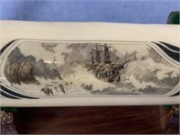 """Scrimmed fossilized ivory 5"""" long shipwreck on a r"""